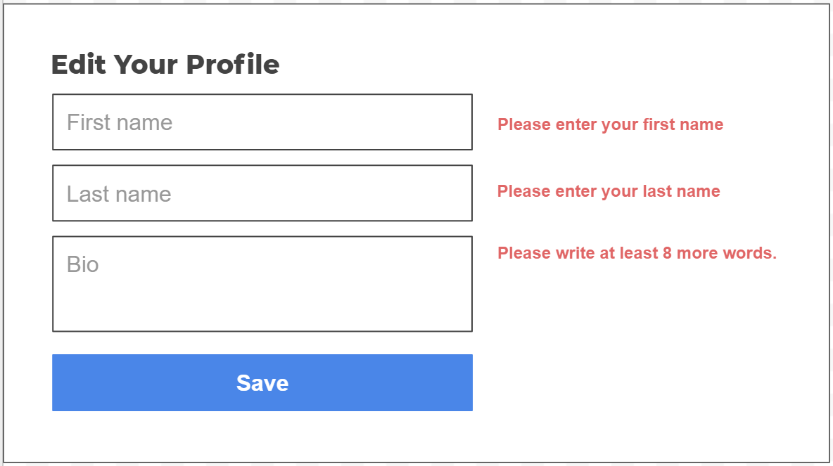 Form Validation Mock-Up